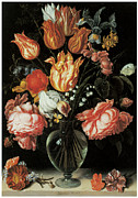 Carnations Paintings - Tulips and Roses in a Glass Vase by Jacques De Gheyn The Younger