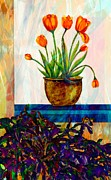 Easter Cactus Art Posters - Tulips - Cactus - Still Life  Abstract Poster by Barbara Griffin