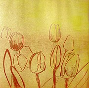 Printmaking Prints - Tulips Print by Cherise Thompson