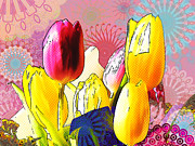 Multicolored Drawing Prints - Tulips Print by Christo Christov