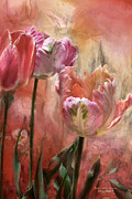 Floral Mixed Media Metal Prints - Tulips - Colors Of Love Metal Print by Carol Cavalaris