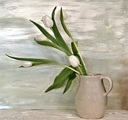 Antique Pitcher Posters - Tulips Dancing Poster by Marsha Heiken