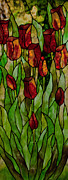Spring Glass Art - Tulips by David Kennedy