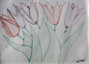 Pen And Ink Drawing Prints - Tulips Print by Fred Miller