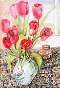 Jugs Framed Prints - Tulips in a Rye Jug Framed Print by Joan Thewsey