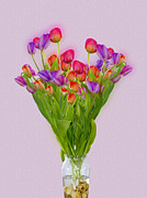 Green Leafs Digital Art Posters - Tulips in a vase of water Poster by Ilan