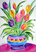 Flora Drawings - Tulips in a vase by Roberto Gagliardi