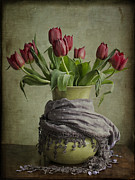 Scarves Posters - Tulips in a Wrapped Vase Poster by Terry Rowe