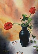 Adel Nemeth Posters - Tulips In Black Vase Poster by Adel Nemeth
