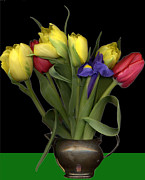 Pewter Jug Prints - Tulips in pewter vase Print by Margaret Hockney