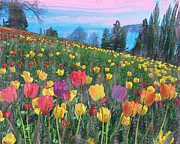 Green Day Digital Art - Tulips Lake by Anthony Caruso