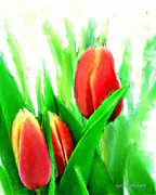 Landscape Prints Mixed Media Prints - Tulips Print by Moon Stumpp