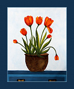 Buffet Posters - Tulips on a Blue Buffet with Borders Poster by Barbara Griffin