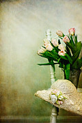 Interior Still Life Metal Prints - Tulips on a Chair Metal Print by Stephanie Frey