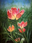 Card Paintings - Tulips on Fire by Irina Sztukowski