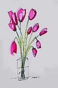 Glass Wall Painting Posters - Tulips Poster by Patricia Awapara