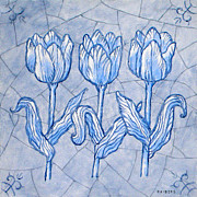Netherlands Paintings - Tulips by Raymond Van den Berg