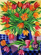 Signed Sculpture Prints - TULIPS   Sculptured in Oil    Art Deco Print by Gunter E  Hortz
