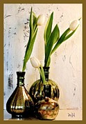 Thin Digital Art Posters - Tulips Three in Mercury Poster by Marsha Heiken