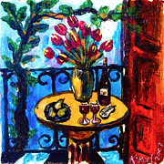 Wine Bottle Paintings - Tulips Wine and Pears by Karon Melillo DeVega