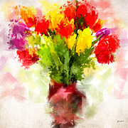 Abstract Tulip Floral Posters - Tulips With Love Poster by Lourry Legarde
