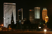 """boston Avenue"" Metal Prints - Tulsa Oklahoma Skyline at Night Metal Print by Bill Cobb"
