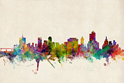 Silhouette Digital Art - Tulsa Oklahoma Skyline by Michael Tompsett