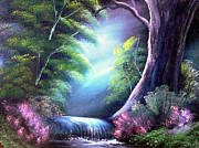Fantasy Tree Art Paintings - Tumbledown Glowing by Cynthia Adams