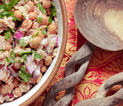 Wooden Bowl Prints - Tuna and bean salad Print by Tom Gowanlock