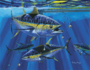Blue Marlin Paintings - Tuna Blitz Off0039 by Carey Chen