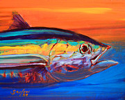 Fly Fishing Painting Posters - Tuna Portrait Poster by Mike Savlen