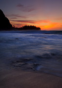 North Shore Prints - Tunnels Beach Dusk Print by Mike  Dawson