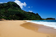 Tunnels Beach Prints - Tunnels Beach Kauai Print by Rendell B
