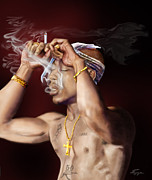 African American Male Paintings - Tupac - Burning Lights Series  by Reggie Duffie
