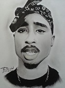 Signed Drawings Prints - Tupac charcoal drawing  Print by Lance  Freeman