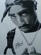 Signed Prints Drawings - Tupac charcoal sketch by Lance  Freeman