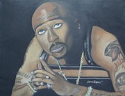 Hip Hop Drawings Posters - Tupac Poster by Demitrius Roberts
