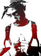 Red Digital Art Posters - Tupac Poster by Mike Maher