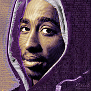 Celebrity Mixed Media Acrylic Prints - tupac shakur and Lyrics Acrylic Print by Tony Rubino