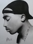 Signed Prints Drawings - Tupac shakur charcoal by Lance  Freeman