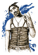 Greatest Of All Time Metal Prints - Tupac Shakur colour drawing art poster Metal Print by Kim Wang