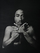 Black Ring Drawings - Tupac Shakur hand gesture by Riane Cook