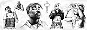 All-star Drawings Framed Prints - Tupac Shakur long drawing art poster Framed Print by Kim Wang