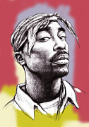 All-star Drawings Framed Prints - Tupac Shakur morden art drawing portrait poster Framed Print by Kim Wang