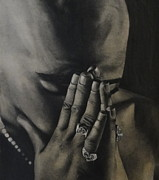 Black Ring Drawings - Tupac Shakur Praying by Riane Cook