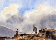 Turf Paintings - Turf cutters Achill Mayo by Val Byrne