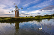 Norfolk; Prints - Turf Fen Drainage Mill Print by Louise Heusinkveld