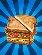 Sandwich Paintings - Turkey Club Sandwich on White by Kelly Gilleran
