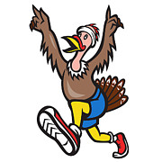 Turkey Prints - Turkey Run Runner Cartoon Isolated Print by Aloysius Patrimonio