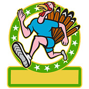 Turkey Posters - Turkey Run Runner Side Cartoon Poster by Aloysius Patrimonio